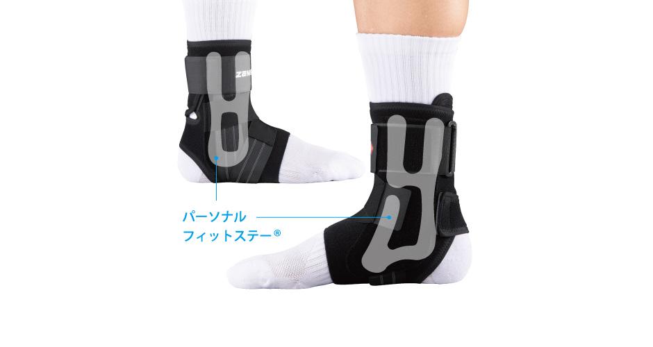 足の形状になじむステーが的確にフィット