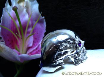 石留めスカルリング CHESED ケセド/Silver925,アメシスト