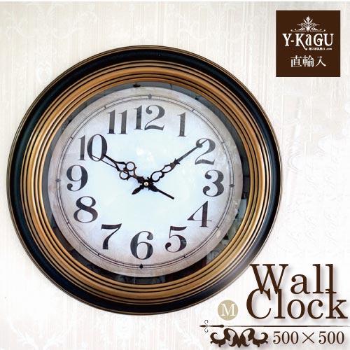 【処分特価】【Y-KAGU直輸入】ウォールクロック(壁時計) レトロネイビー(M)