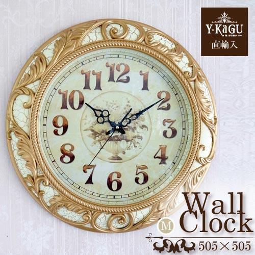 【送料無料】【Y-KAGU直輸入】ウォールクロック(壁時計) ロココホワイト(M)