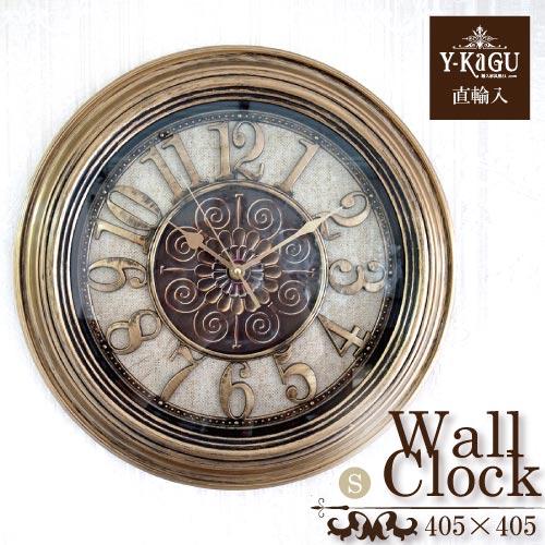 【Y-KAGU直輸入】ウォールクロック(壁時計) ラウンドゴールド(S)