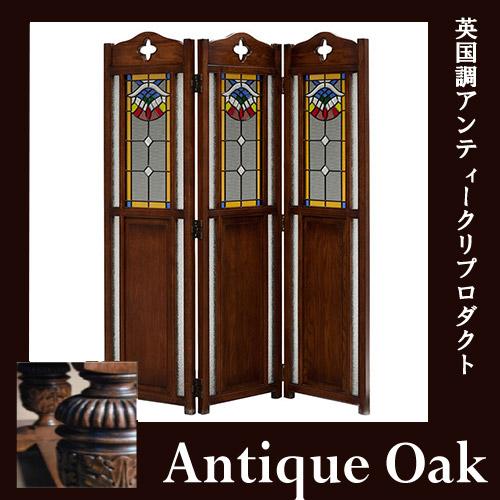 【送料無料】 Antique Oak Collection :スクリーン3枚折
