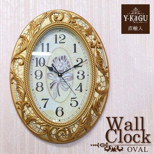 【Y-KAGU直輸入】ウォールクロック(壁時計) ロココホワイト(オーバル)