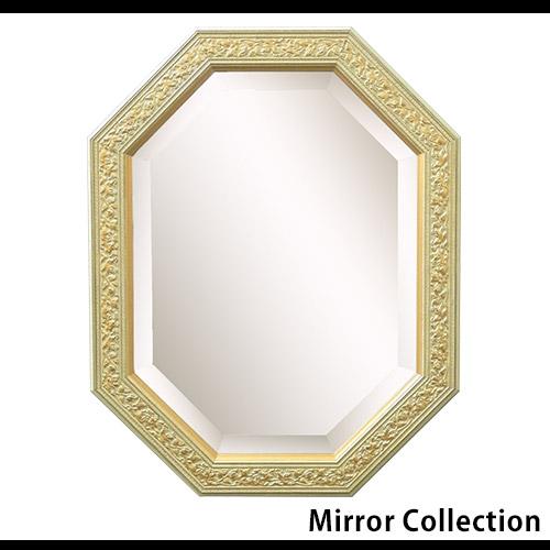 イタリア製 八角形ウォールミラー アイボリーゴールド