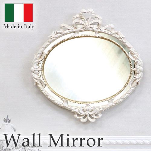 【送料無料】イタリア製 ウォールミラー(アイボリーゴールド) リボン オーバル