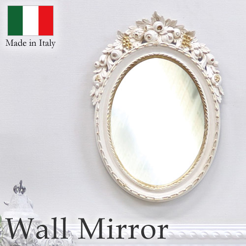 【送料無料】イタリア製 ウォールミラー(アイボリーゴールド) フラワー オーバル