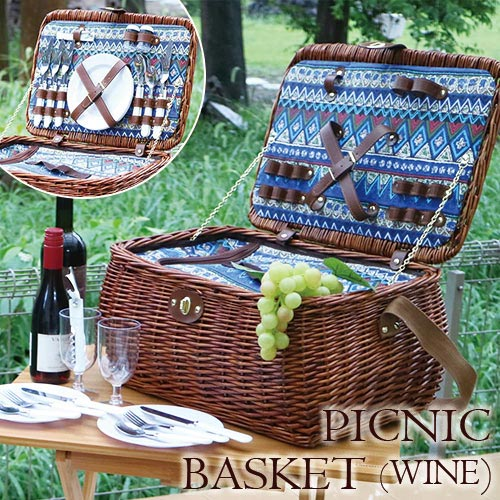 【P10倍】【送料無料】大人インテリア 食器付き!保冷バッグ付き!ピクニックバスケット(BL)