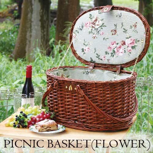 ピクニックバスケット,おしゃれ,食器付き,カゴバック,ラタンバック,フラミンゴ