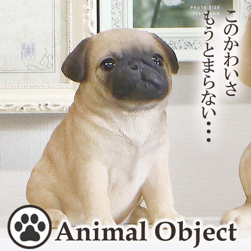 【P2倍】アニマルオーナメント アニマルオブジェ パグ(S) お座りイヌ