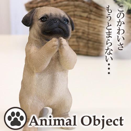 【P2倍】アニマルオーナメント アニマルオブジェ パグ(S) おねだりイヌ