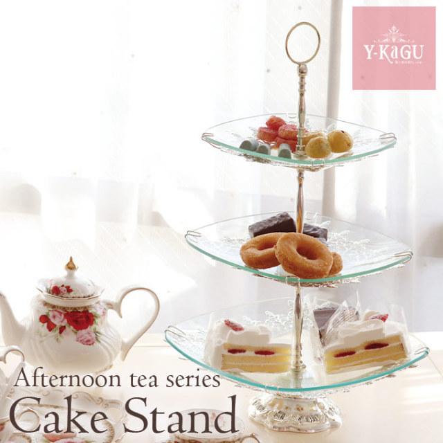 ケーキプレート,3段,ケーキスタンド,アフタヌーンティー,ガラス