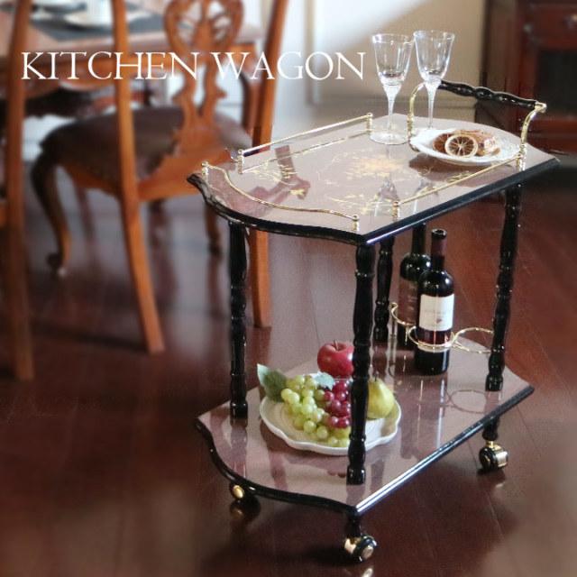 キッチンワゴン,象嵌,イタリア家具,キャスター付き,2段