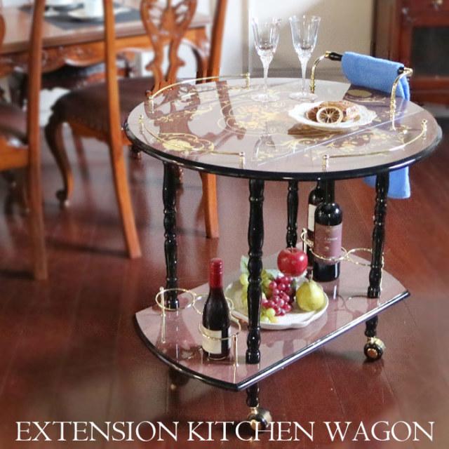 キッチンワゴン,象嵌,イタリア家具,伸長式,キャスター付き,2段