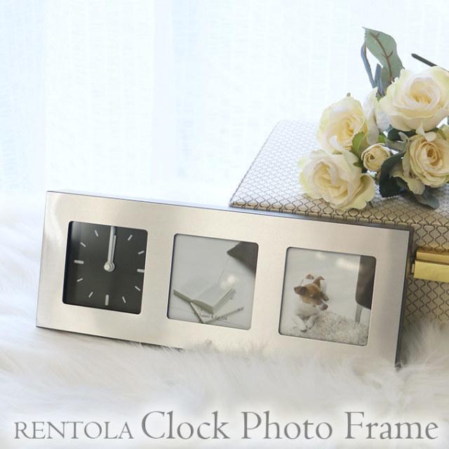 フォトフレーム,大特価,シルバー,2枚用,おしゃれ,時計付き,卒業記念,結婚祝い
