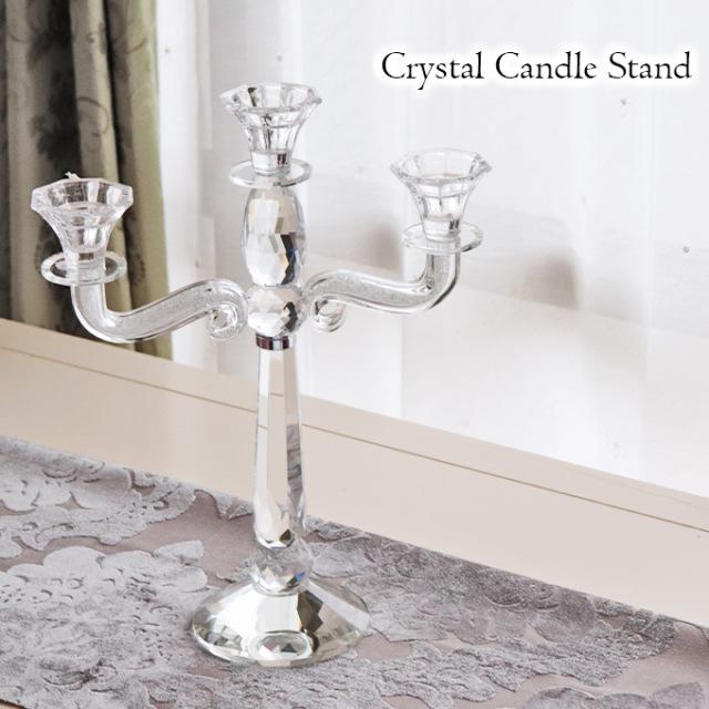 置物,キャンドルスタンド,燭台,3灯,クリスタル
