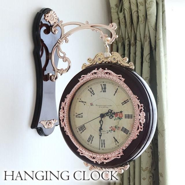 時計,両面時計,壁掛け,ブラウン