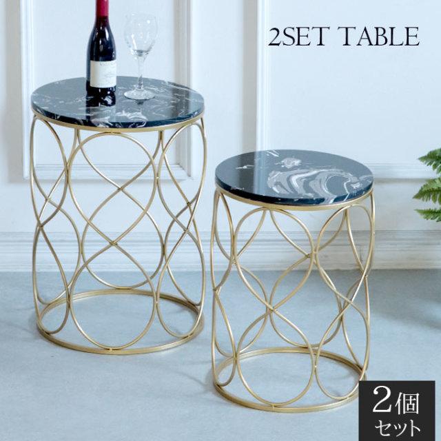 サイドテーブル,ラウンドテーブル,大理石,2点セット