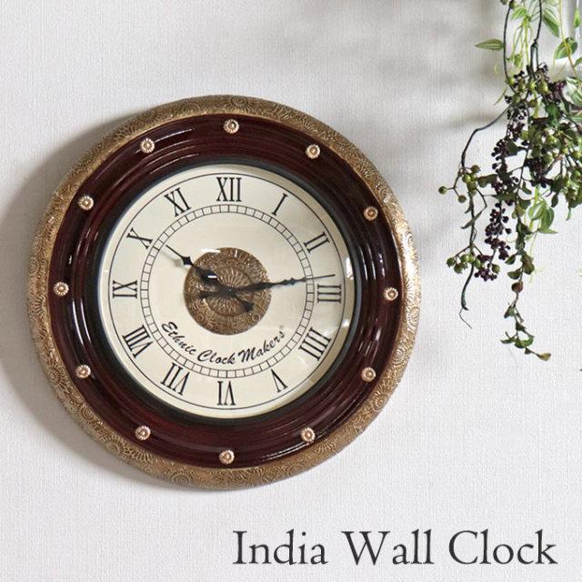 時計,壁掛け,ウォールクロック,インド,ブラウン,おしゃれ,壁掛け時計,クラシック,アンティーク