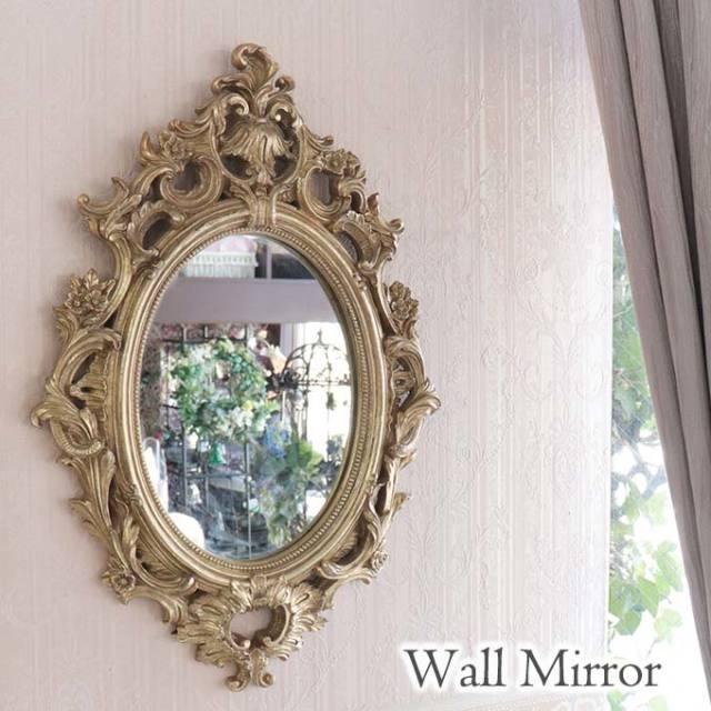 ミラー,鏡,オーバル,壁掛け,ウォールミラー,おしゃれ,ロココ,アンティーク,ゴールド