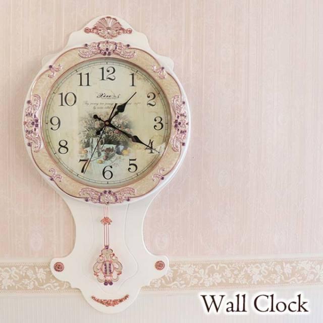 振り子時計,ウォールクロック,壁掛け時計,ホワイト,時計,壁掛け,クラシック,ロココ,アンティーク