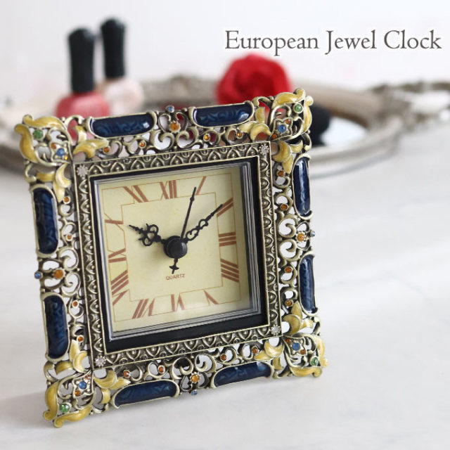 置き時計,時計,スクエア,ロココ,ブルー
