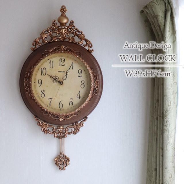 壁掛け時計,振り子時計,ロココ,アンティーク,ブラウン