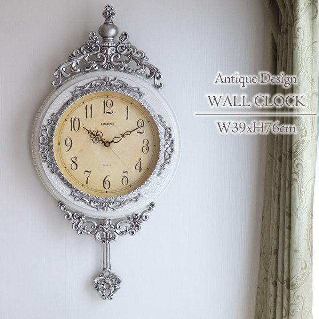 壁掛け時計,振り子時計,ロココ,アンティーク,ホワイト