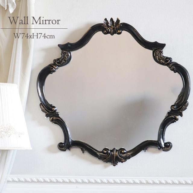 鏡,ミラー,ウォールミラー,ロココ,ゴシック,ブラック