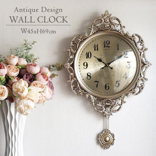 壁掛け時計,時計,振り子付き,ウォールクロック,ロココ,アンティーク調,サイレント,モナコ