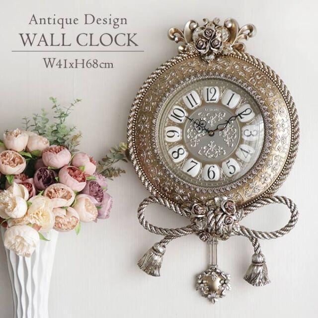 壁掛け時計,時計,振り子付き,ウォールクロック,ロココ,アンティーク調,サイレント,ローズ