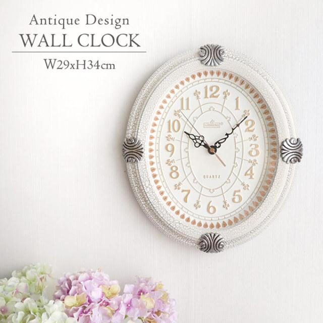 壁掛け時計,時計,ウォールクロック,ロココ,アンティーク調,サイレント,ホワイト