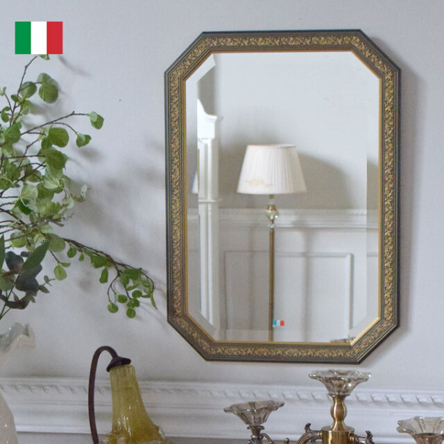 ミラー,壁掛け鏡,イタリア製,風水,ネイビー