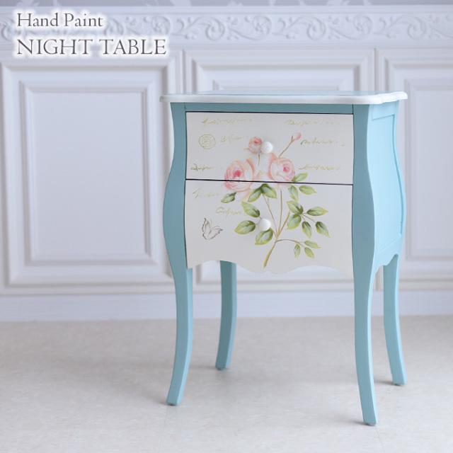 ナイトテーブル,ハンドペイント,フレンチ,ブルー