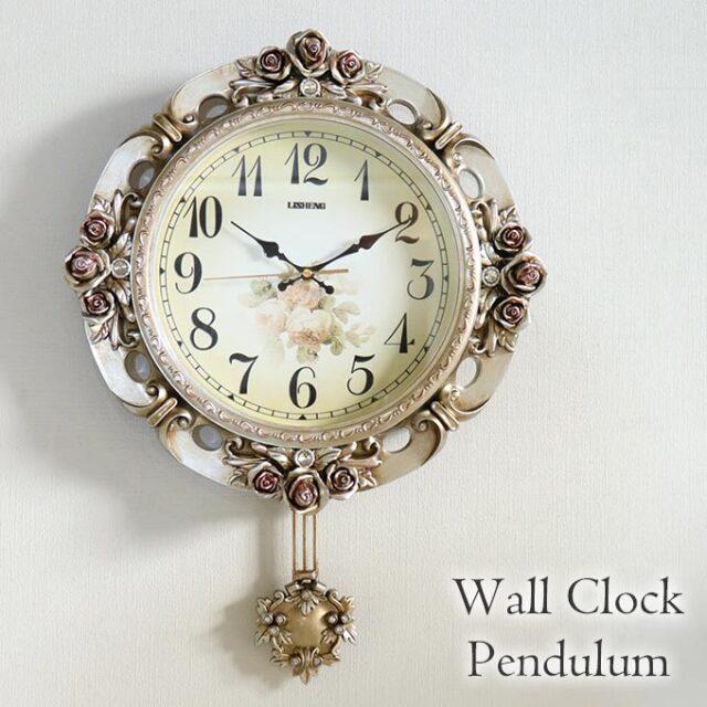 掛け時計,振り子時計,クロック,ロココ,ゴールド