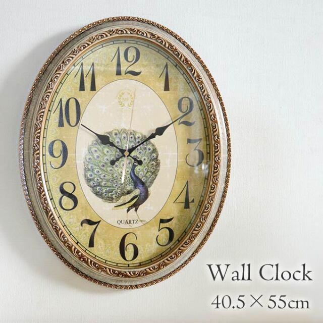 掛け時計,クロック,孔雀,風水,ロココ,おしゃれ