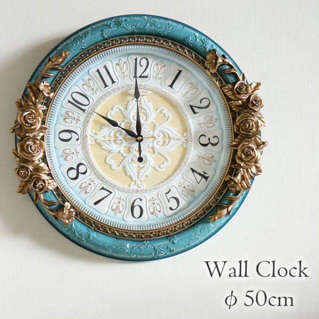 掛け時計,クロック,Φ50cm,ロココ,ラピスラズリ