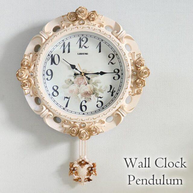 掛け時計,振り子時計,クロック,ロココ,ホワイト
