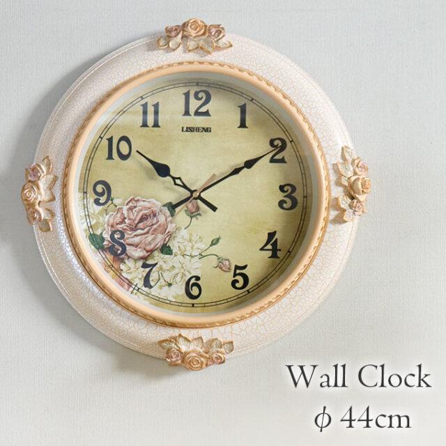 掛け時計,クロック,Φ44cm,ロココ,フラワー