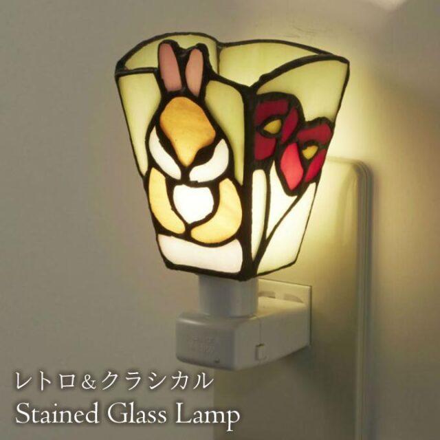 フットランプ,ステンドガラス,LED,ウサギ