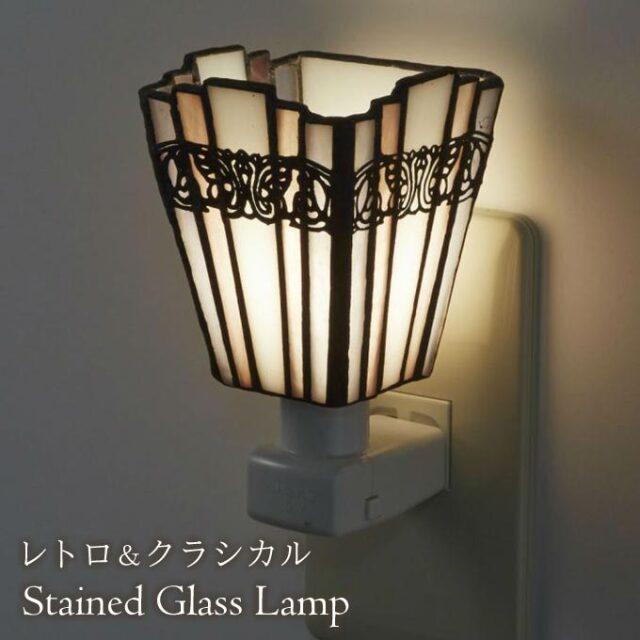 フットランプ,ステンドガラス,LED,シンシア,ホワイト