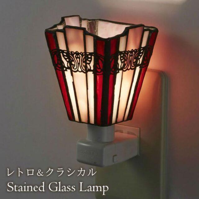 フットランプ,ステンドガラス,LED,シンシア,ピンク