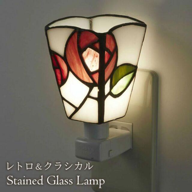 フットランプ,ステンドガラス,LED,バラ,ローズ