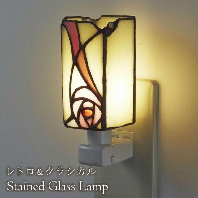フットランプ,ステンドガラス,LED,マッキントッシュローズ