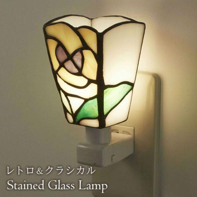 フットランプ,ステンドガラス,LED,パンジー