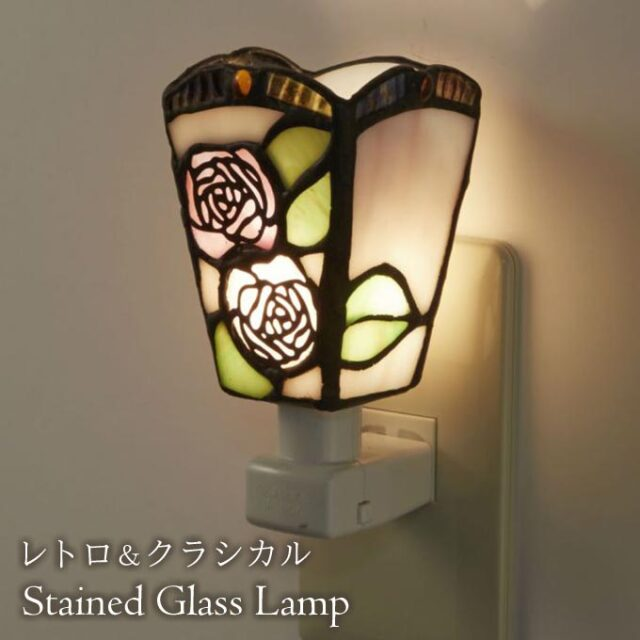 フットランプ,ステンドガラス,LED,クラシック,ローズ