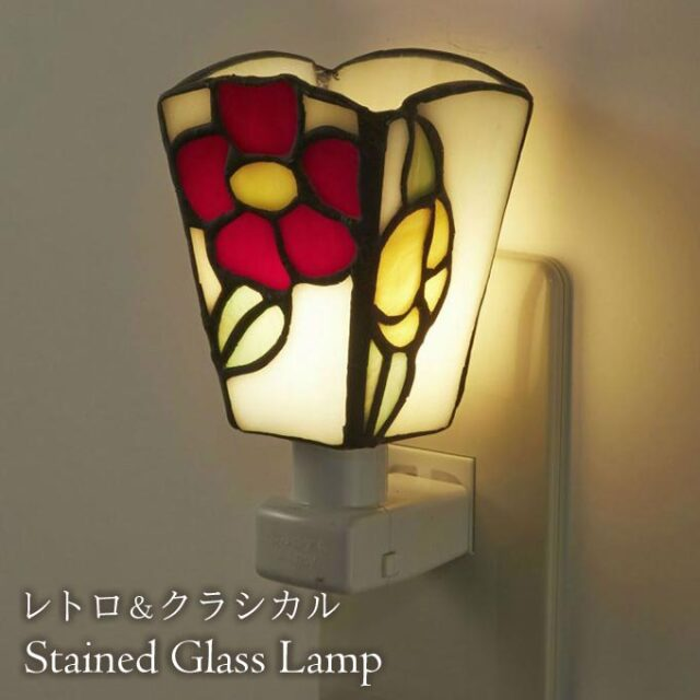 フットランプ,ステンドガラス,LED,オールドローズ