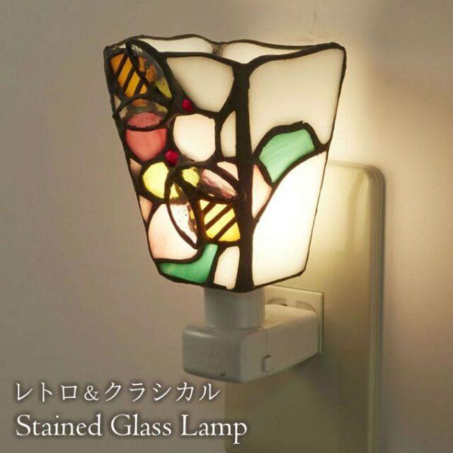 フットランプ,ステンドガラス,LED,ミツバチ