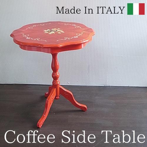 【送料無料】 イタリア製:象嵌テーブル(レッド)