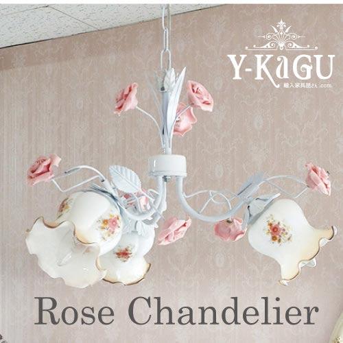 【送料無料】ローズが可愛い♪ローズ吊り下げ3灯シャンデリアY-KAGU直輸入家具