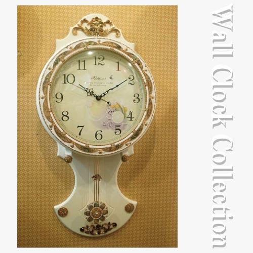 クラシック時計 クラシカルウッドクロック(ホワイトフラワー)